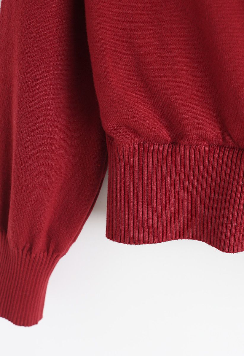 Basic Soft Wrapped Knit Top in Red