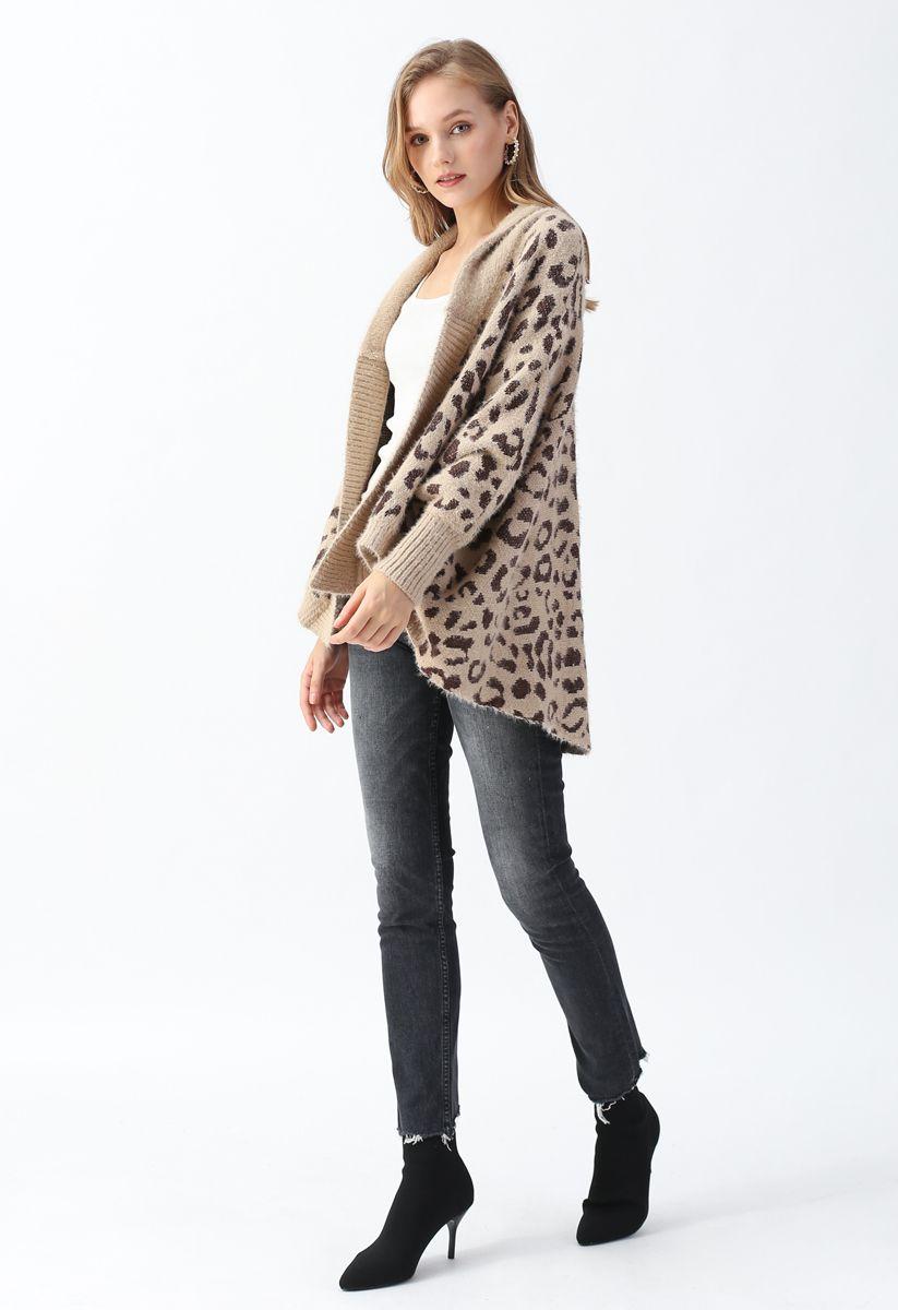 Fuzzy Leopard Batwing Sleeves Knit Cardigan
