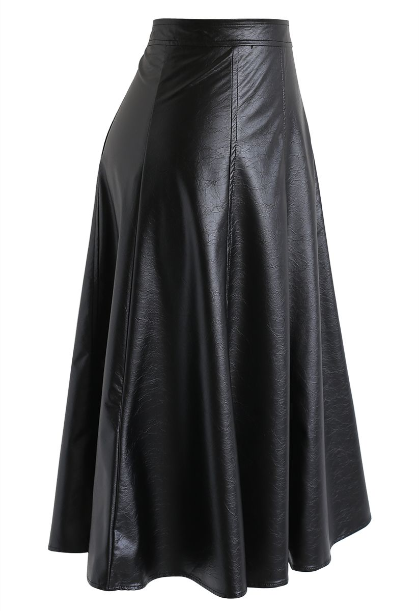 Faux Leather A-Line Midi Skirt in Black