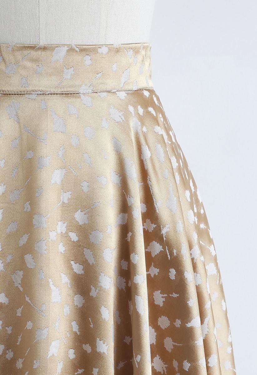 Golden Spot Jacquard Midi Skirt