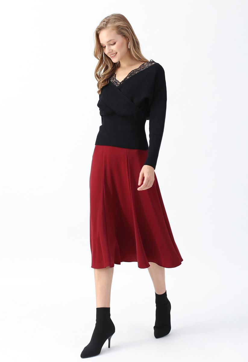 Satin A-Line Midi Skirt in Red