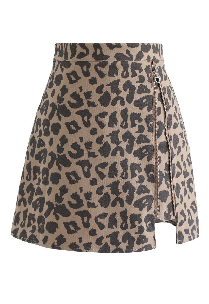 Leopard Print Zipper Mini Skirt in Sand