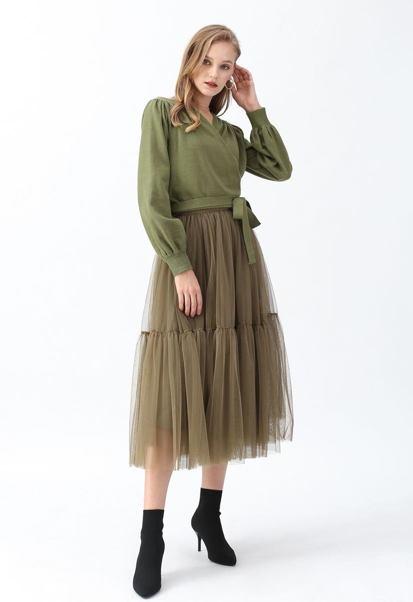 Can't Let Go Mesh Tulle Skirt in Army Green