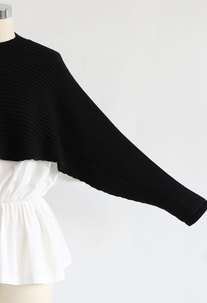 Spliced Peplum Ribbed Knit Top in Black