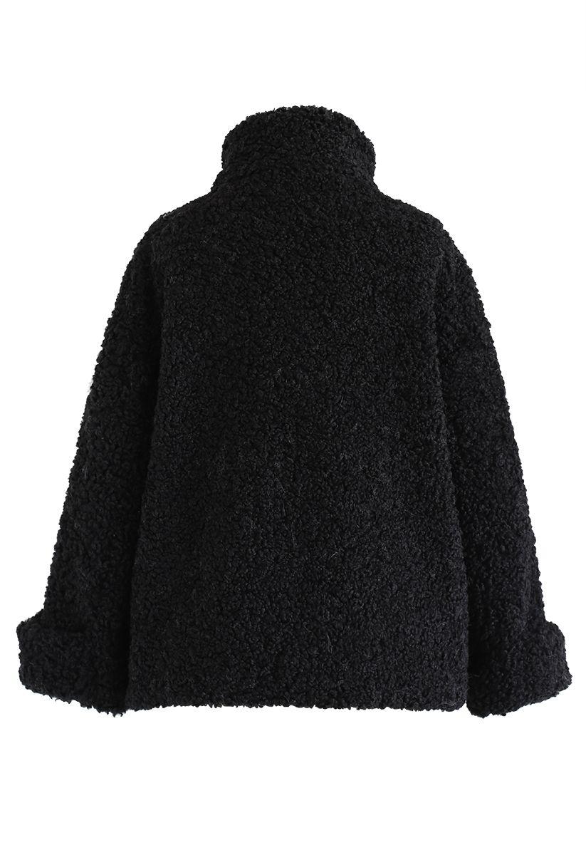 Buttoned Pocket Teddy Coat in Black