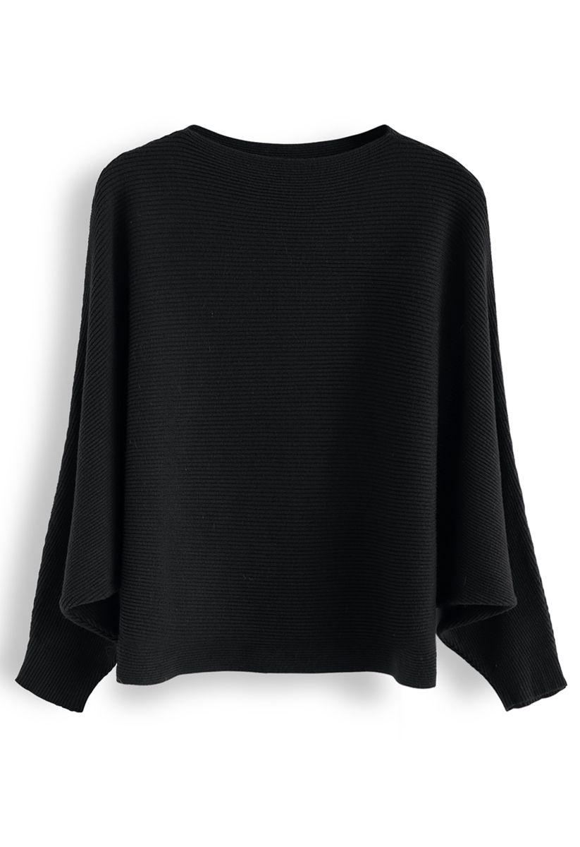 Boat Neck Batwing Sleeves Crop Knit Top in Black