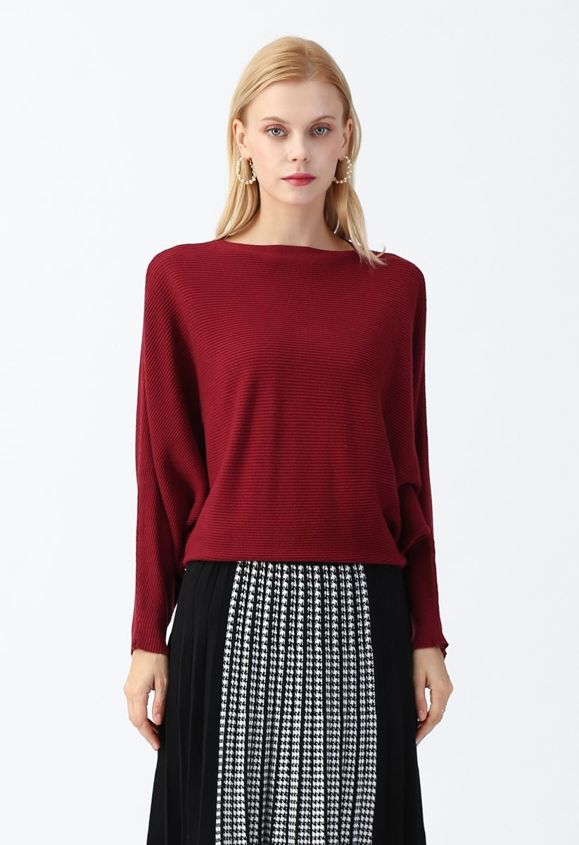 Boat Neck Batwing Sleeves Crop Knit Top in Red