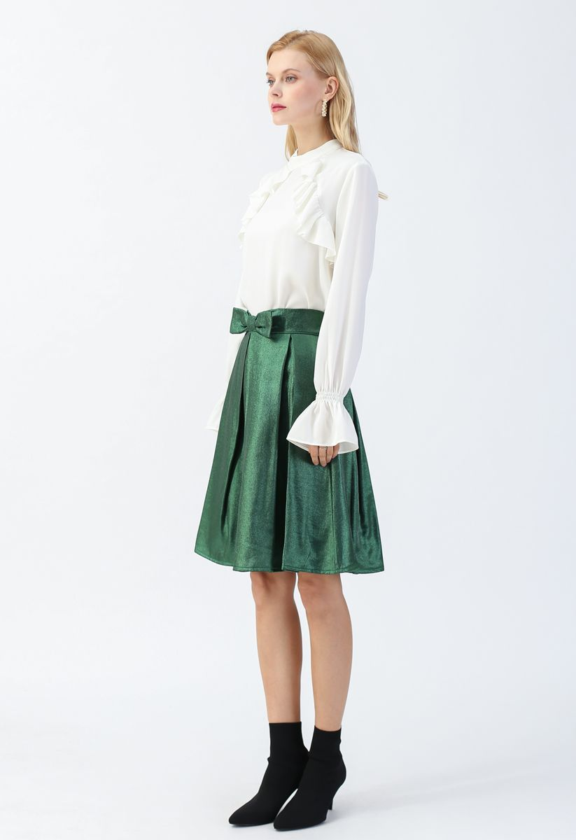 Emerald Satin Bowknot Pleated Midi Skirt