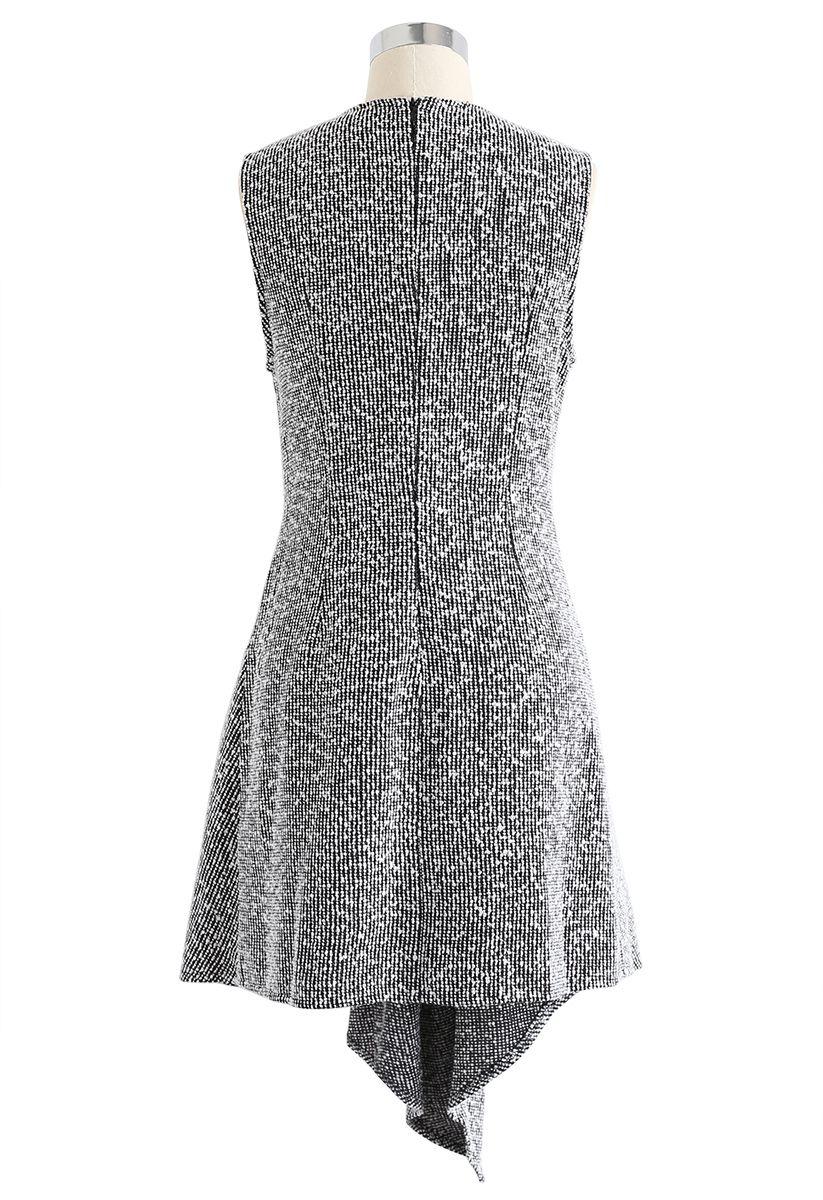 Tweed Asymmetric Sleeveless Dress in Grey