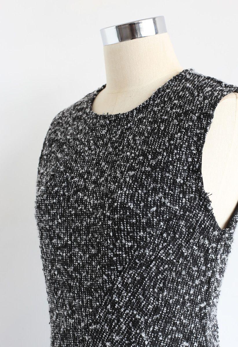 Tweed Asymmetric Sleeveless Dress in Black