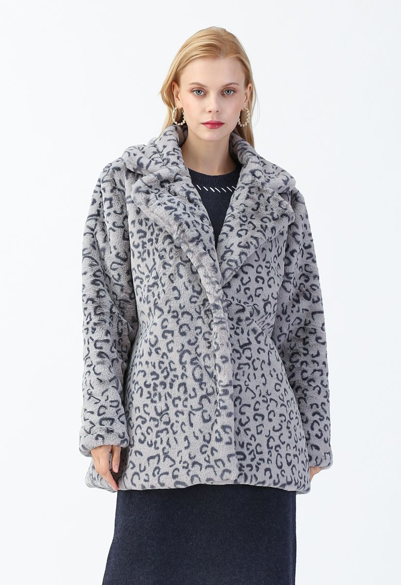Collared Leopard Faux Fur Coat in Grey
