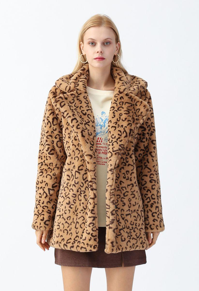 Collared Leopard Faux Fur Coat in Tan