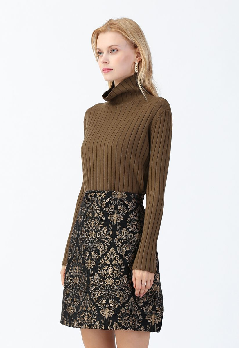 Turtleneck Sleeves Knit Sweater in Olive