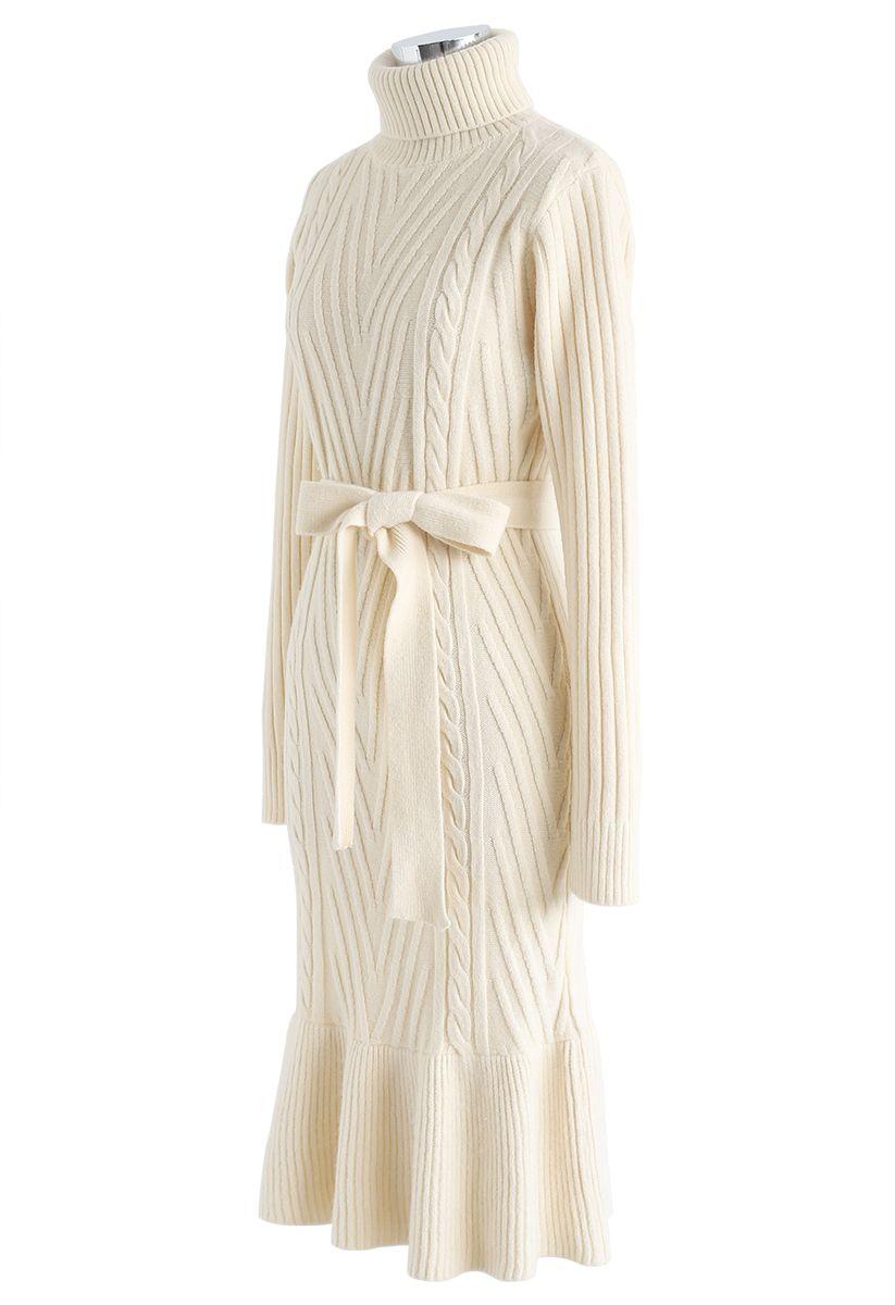 Turtleneck Braid Frilling Knit Dress in Cream