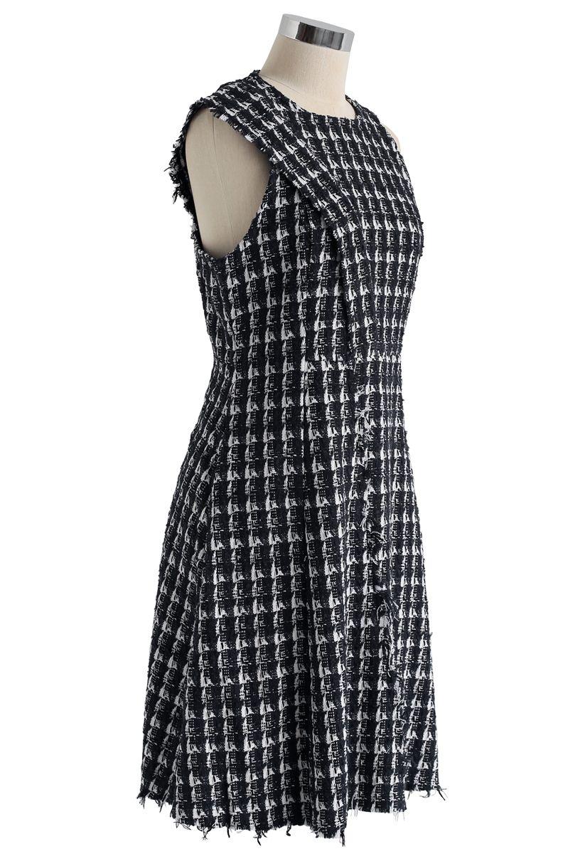 Sleeveless Raw Edge Tweed Dress in Black