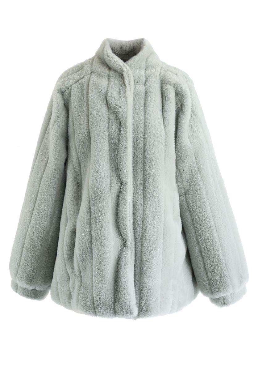 Comfy Faux Fur Coat in Mint