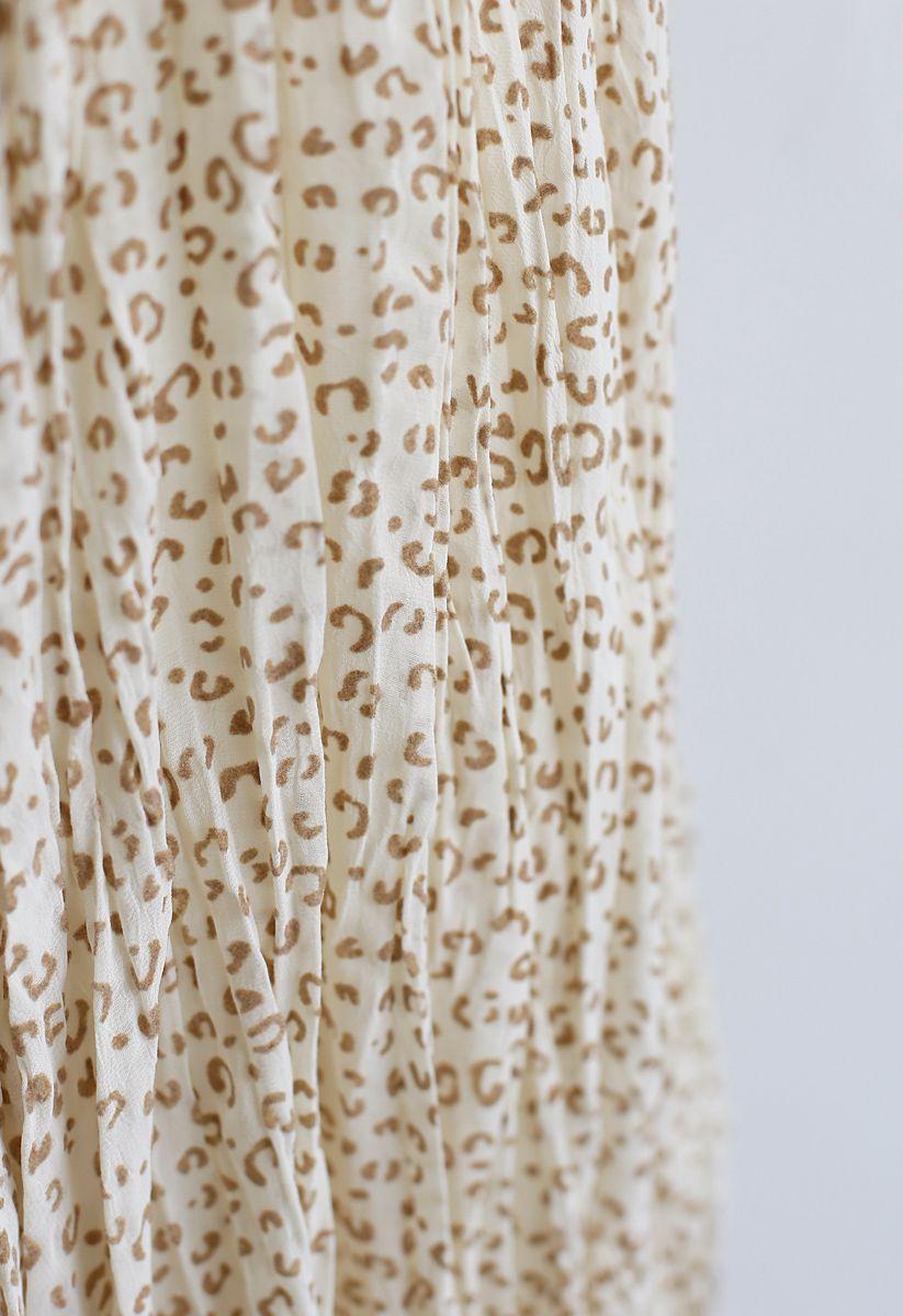 Irregular Dots Pleated Skirt in Yellow