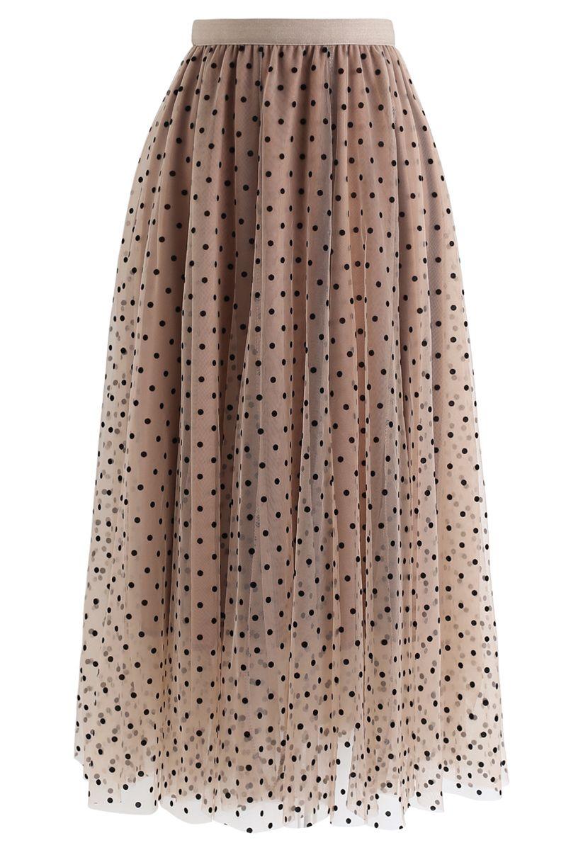 Full Polka Dots Double-Layered Mesh Tulle Skirt in Caramel