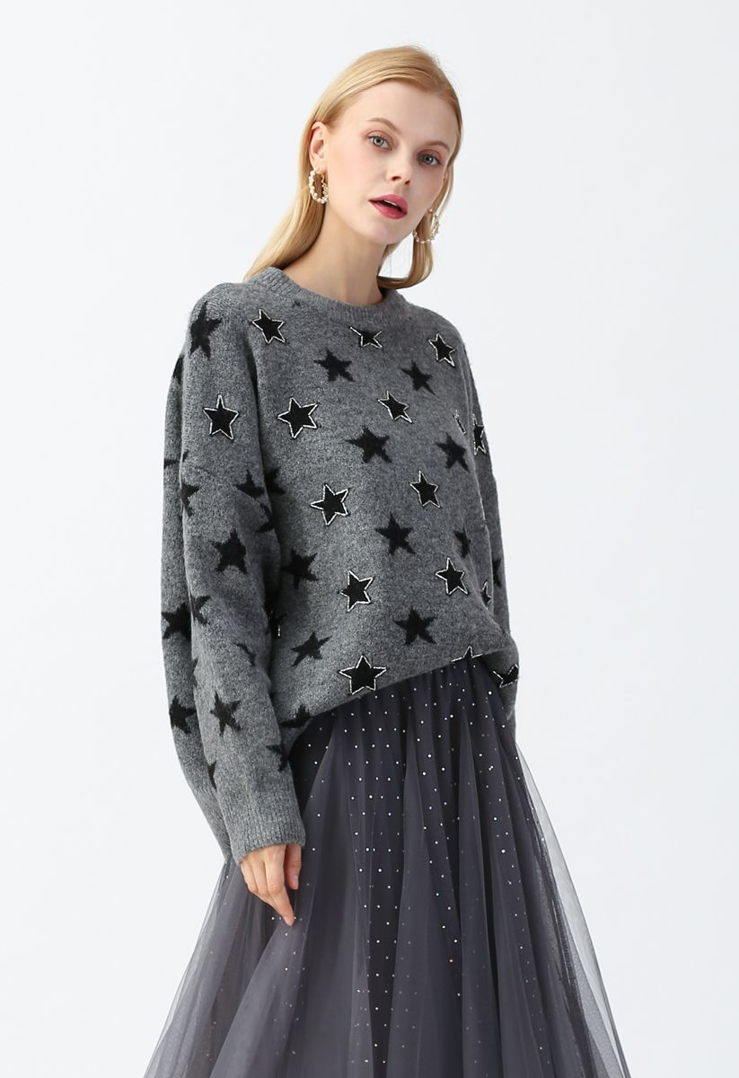 Stars Round Neck Loose Knit Sweater