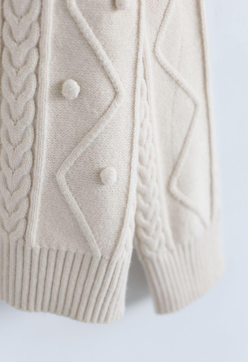 Pom-Pom Braid V-Neck Knit Sweater in Cream