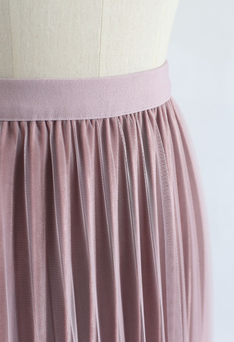 Pearls Embroidered Mesh Velvet Pleated Skirt in Pink