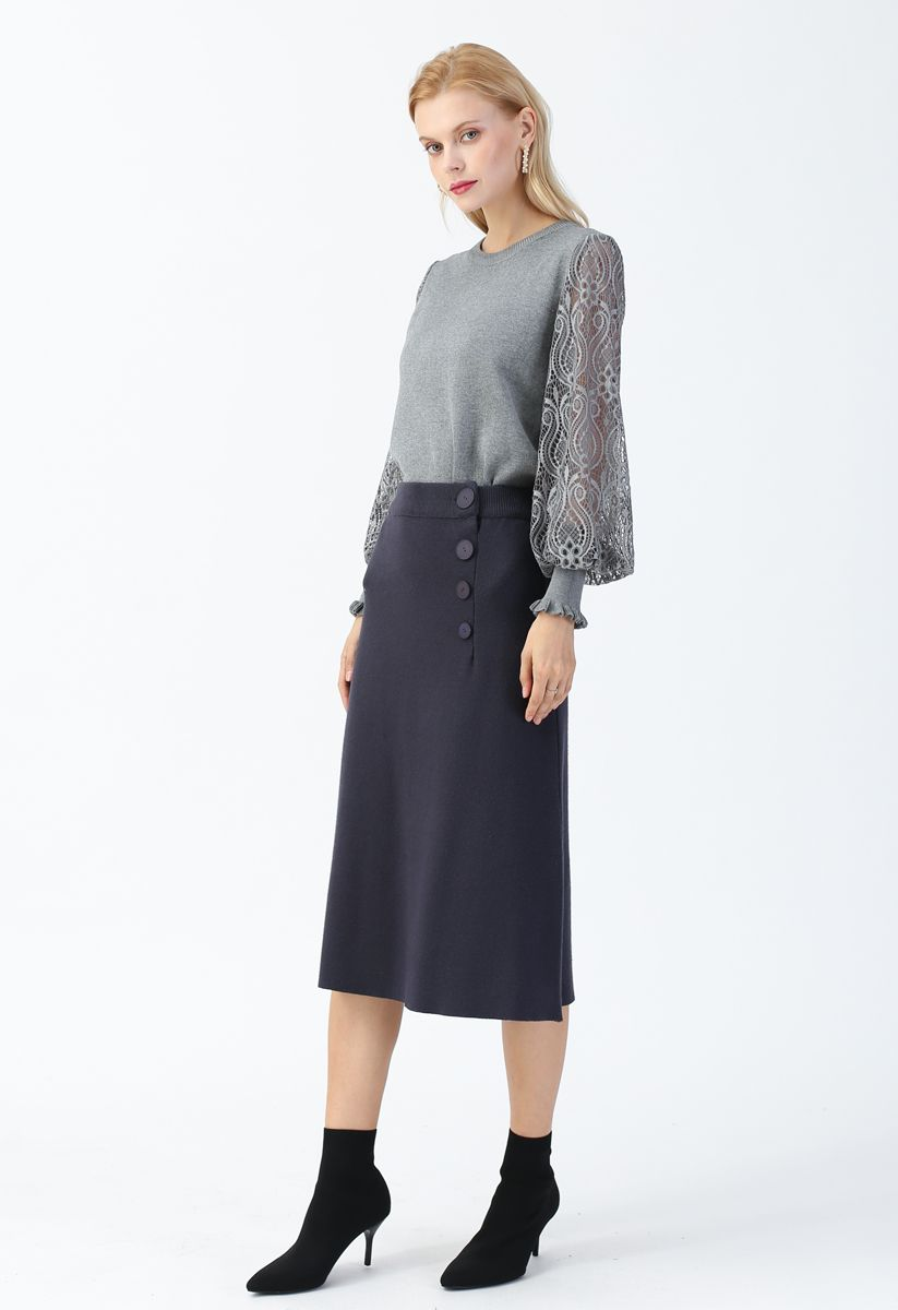 Delicacy Lacy Sleeves Knit Sweater in Grey