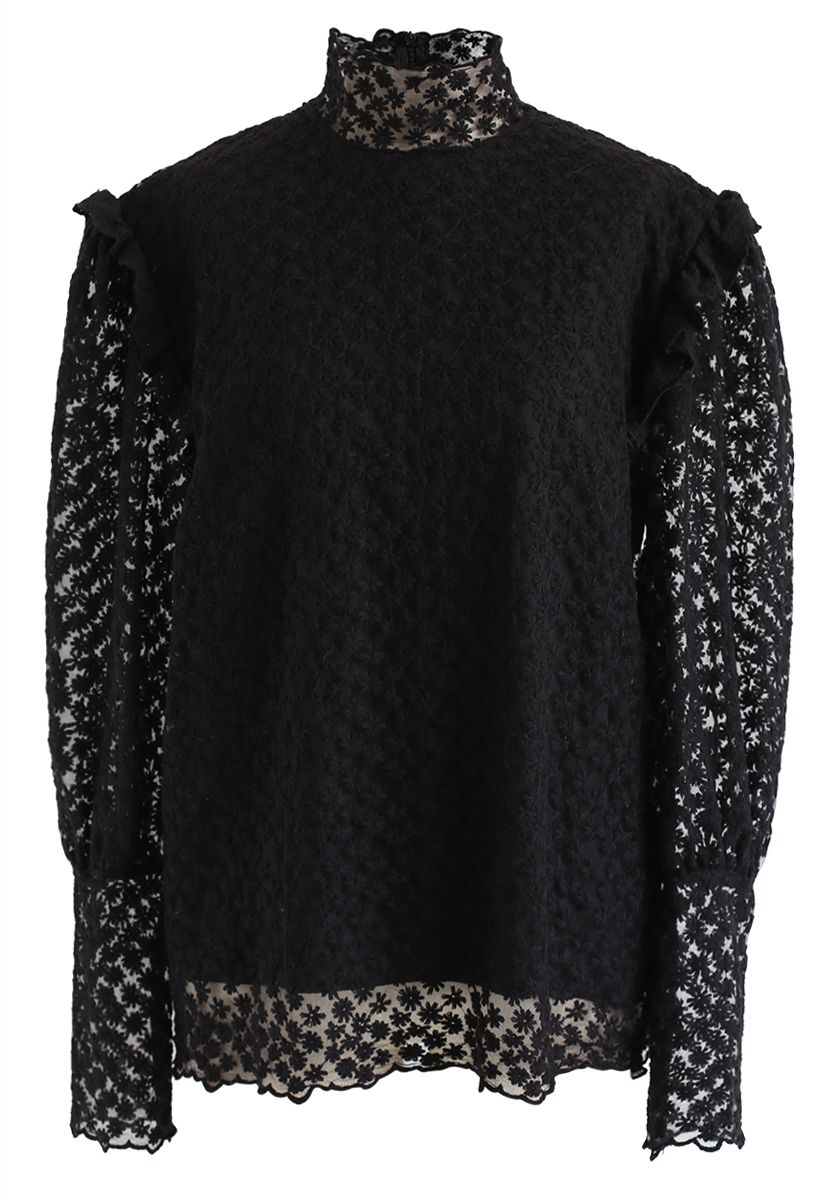Full of Daisy Embroidered Ruffle Mesh Top in Black