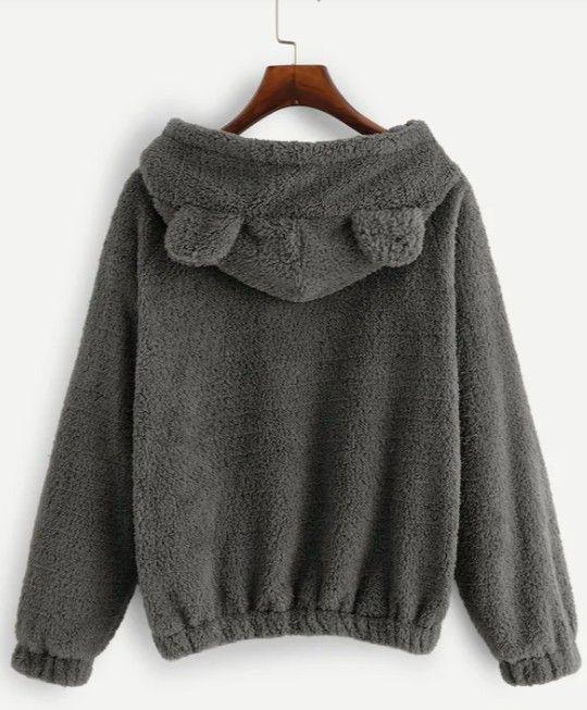 Teddy Hoodie Sweatshirt in Smoke
