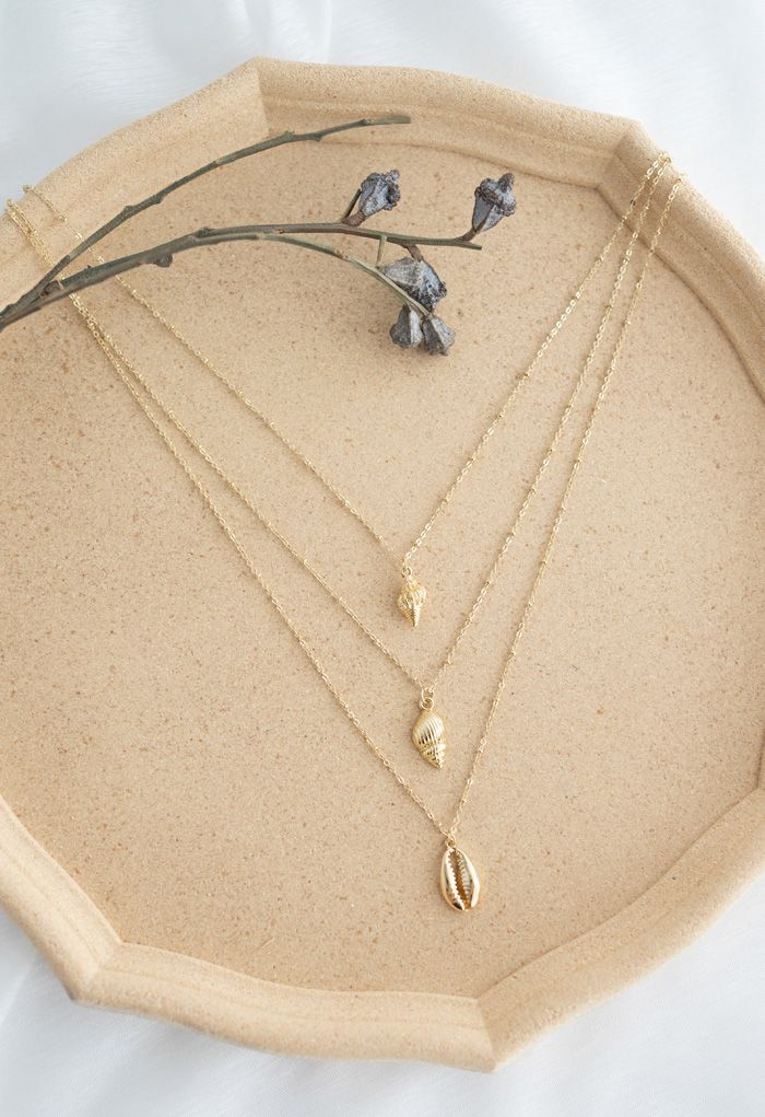 Triple-Layered Gold Shell Necklace