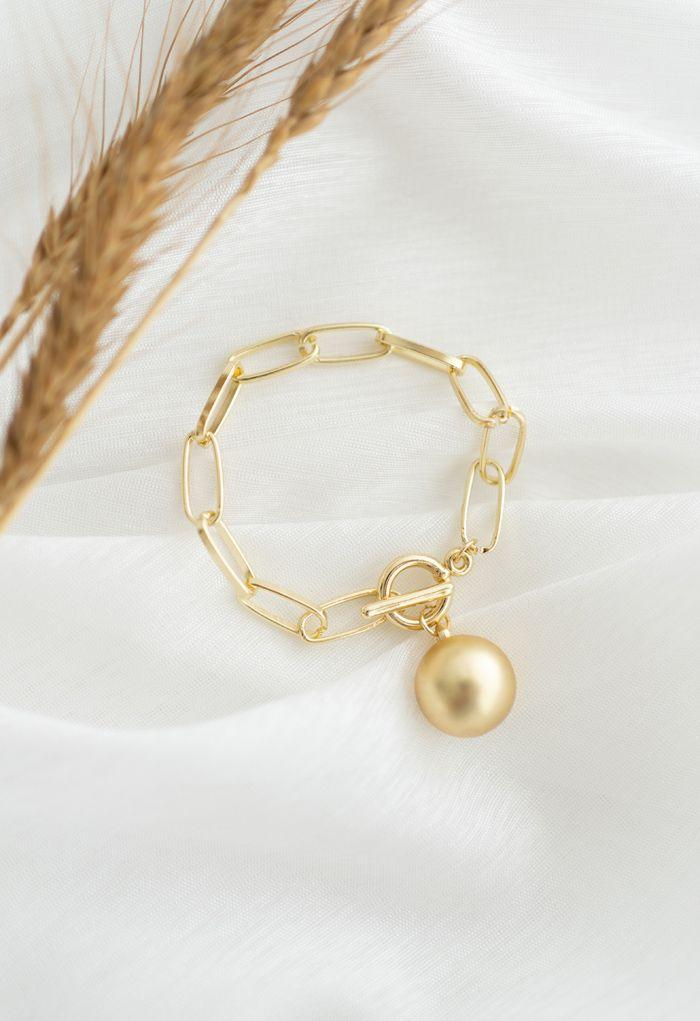 Golden Pearl Chain Bracelet