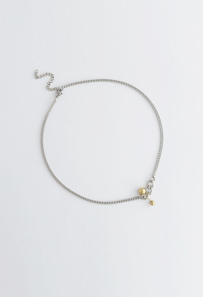 Golden Bead Pendant Chain Necklace