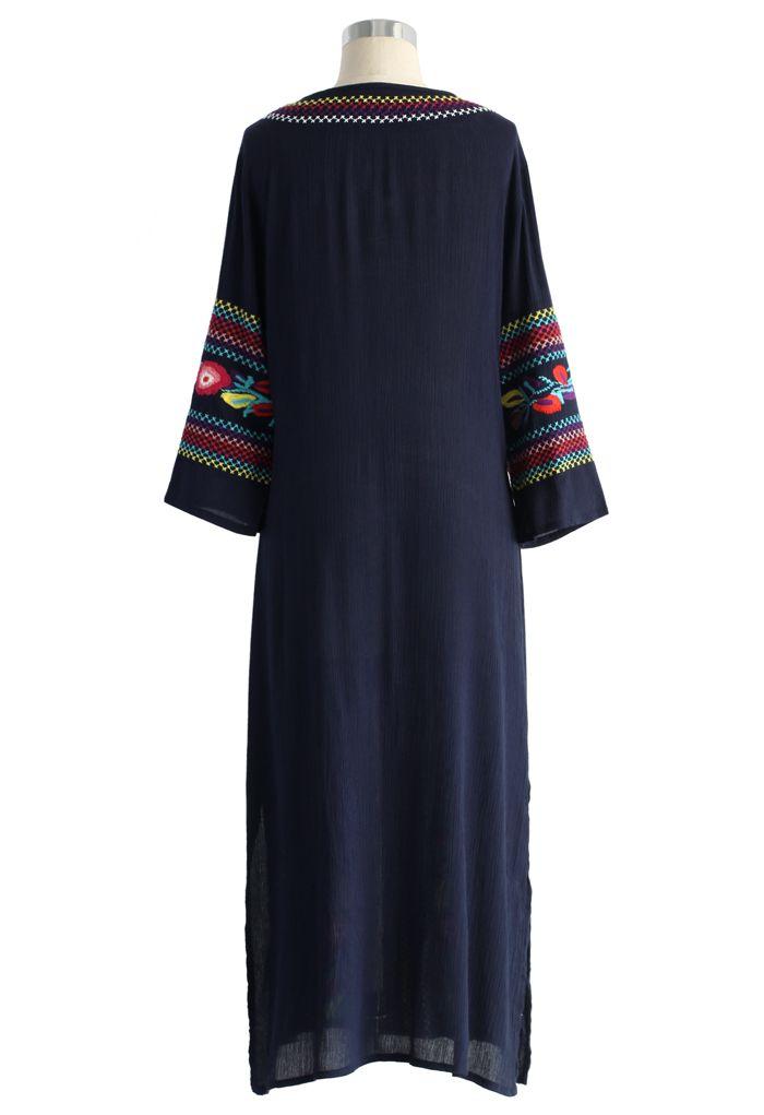 Boho Blossom Maxi Crepe Dress in Navy