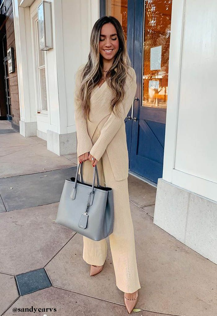 Cross Wrap Rib Knit Longline Sweater and Pants Set in Camel