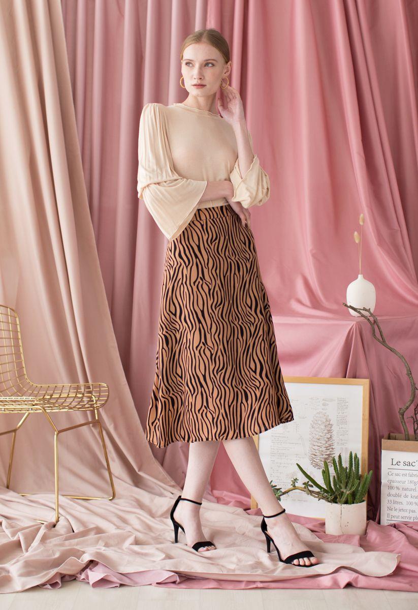 Wildlife Zebra Printed A-Line Midi Skirt in Caramel