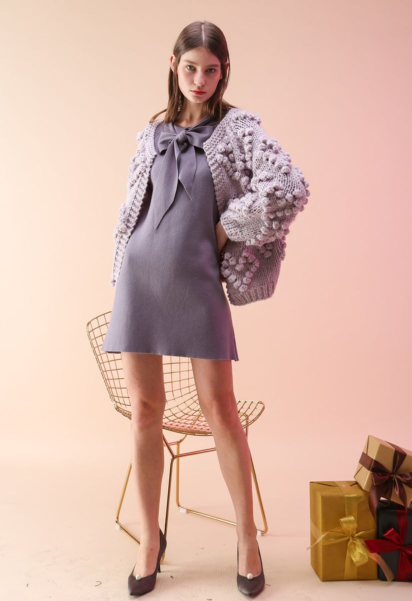 Knit Your Love Cardigan in Lavender