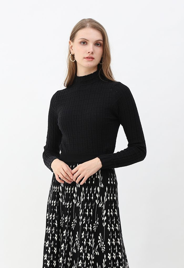 Maze Embossed High Neck Fitted Knit Top in Black
