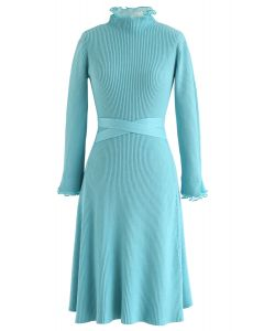 Ruffle Mesh Inserted Bowknot Knit Dress in Turquoise