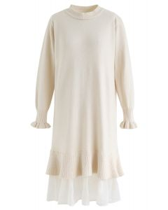 Organza Ruffle Hem Knit Shift Dress in Cream