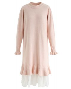 Organza Ruffle Hem Knit Shift Dress in Pink