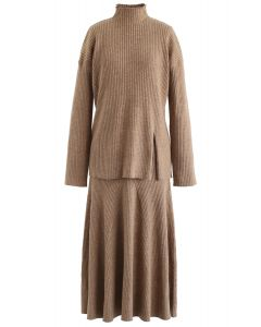Side Slit Ribbed Knit Sweater and Skirt Set in Caramel
