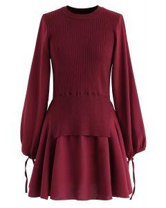 Fake Two-Piece Chiffon Knit Skater Dress in Wine