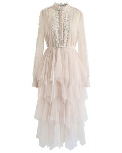 Lacy Sleeves Tiered Mesh Dress in Cream