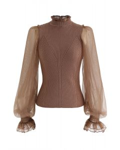 Sheer Bubble Sleeves Ribbed Knit Top in Brown