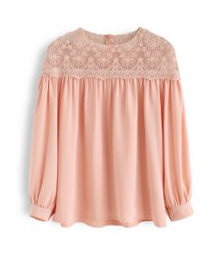 Floret Embroidered Lacy Trim Sleeves Top