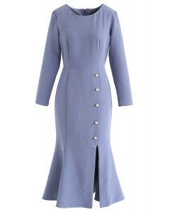 Pearls Embellished Split Ruffle Dress in Dusty Blue
