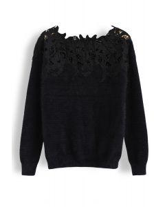 Floral Crochet Fluffy Knit Sweater in Black