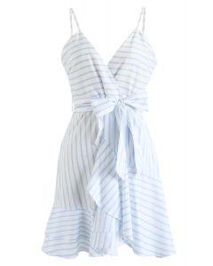Stripe Wrap Ruffle Cami Dress