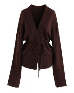 Drawstring Open Front Knit Cardigan in Brown
