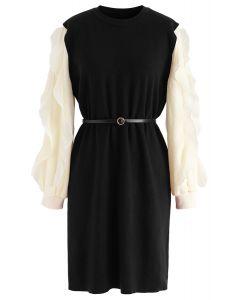 Belted Ruffle Sleeves Spliced Knit Shift Dress in Black
