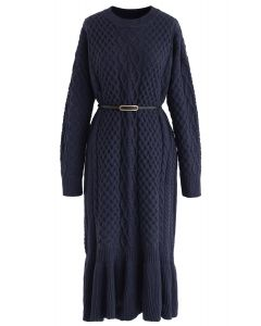 Braid Texture Belted Frill Hem Knit Dress in Navy